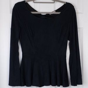 Altar'd state faux suede  key hole back peplum top